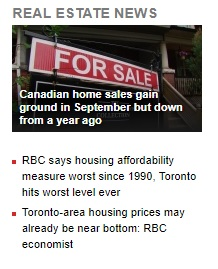 RBC says housing affordability measure worst since 1990. Toronto hits worst level ever; Toronto-area housing prices may already near bottom: RBC economist